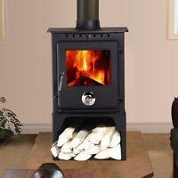 6.5kw Reepham Clean Burn Log Burner Multifuel Woodburning Stove With Log Store