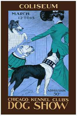 1902 Chicago Kennel Club Coliseum Dog Show Vintage Style Poster 24x42
