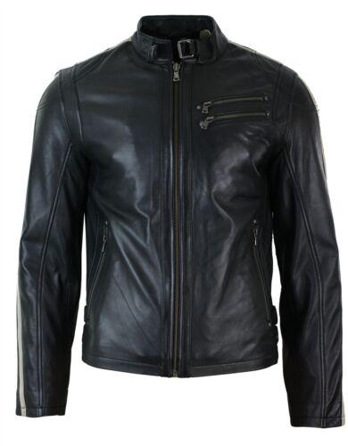 Mens Slim Fit Short Real Leather Biker Racing Jacket Stripes Sleeves Zipped