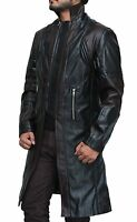 New Mens Avengers Age of Ultron Hawkeye Black Leather Trench Coat