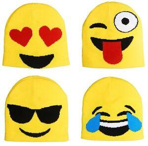 7fc5ae628c0df Adults Mens Womens Emoji Faces Smiles Beanie Hat Winter Woolly ...