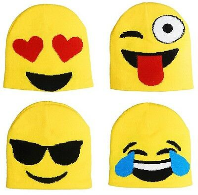 Adults Mens Womens Emoji Faces Smiles Beanie Hat Winter Woolly Knit Funny warm