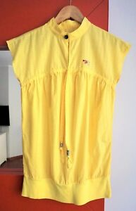 DIESEL-Women-039-s-Cap-Sleeve-Collarless-Yellow-Cotton-Blend-Top-Shirt-Blouse-size-S