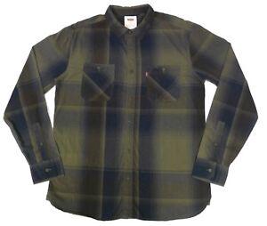 Levis-Red-Tab-Mens-Medium-LS-Plaid-Shirt-Brown-Blue-Moss-Green-Button-Front