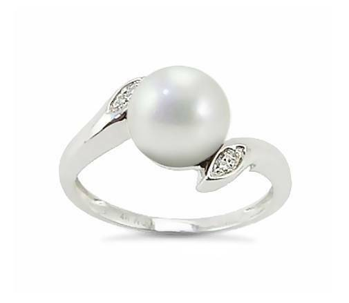 Perla Anello 14k oro Bianco Bianco Bianco Acque Dolci & Diamante di Contorno c01e70