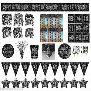 Black-and-Silver-Glitz-Aged-Birthday-Partyware-Decorations-Tableware-Ages-13-80