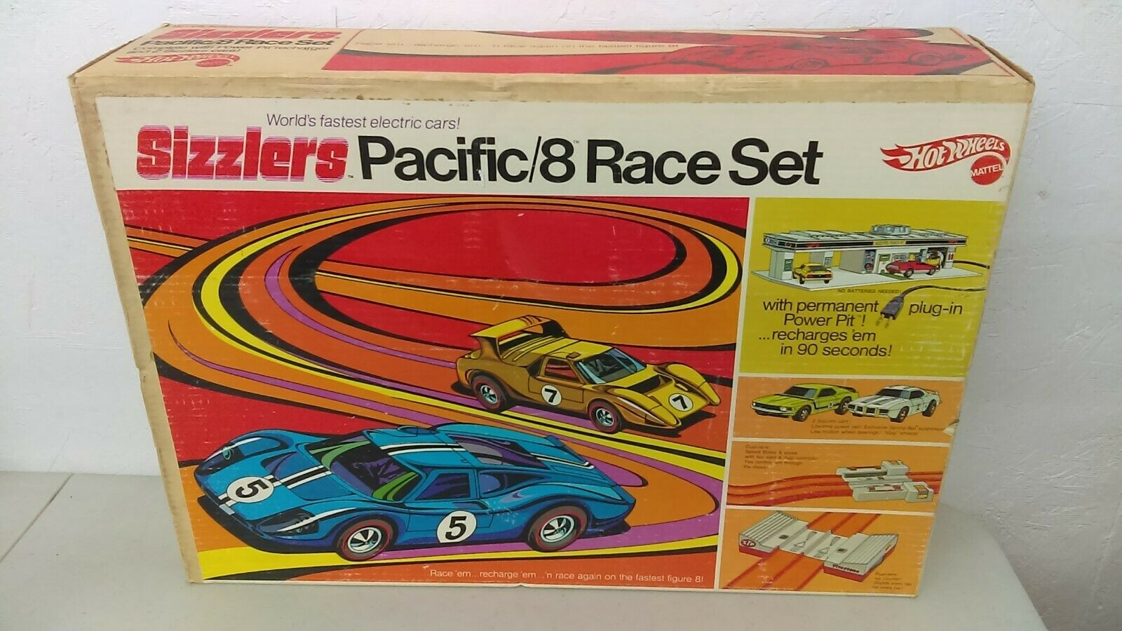 1969 Mattel Sizzlers Hot Wheels rossoline Pacific 8 Race Set Never Used MIB NOS