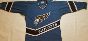 Washington-Capitals-Jersey-Mens-large-L-Starter-Blue-Screaming-eagle-stitched