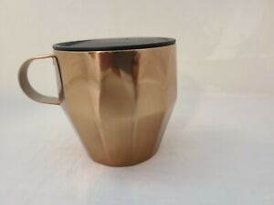 Starbucks-Coffee-Geometric-Copper-Color-Metal-Cup-Mug-16-oz-W-Lid-Handle-2014
