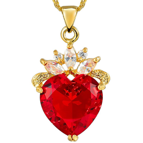 Xmas Melina Jewelry *Round Heart Red Ruby Gold Tone Pendant Necklace For Dress