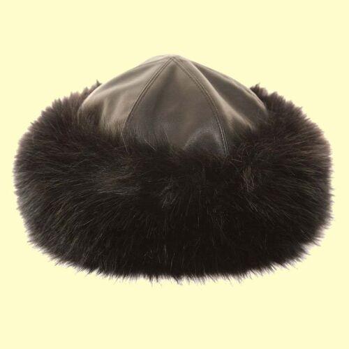 Ladies Qualtiy Faux Fake Fur Leather Hat  Wedding Hat Packable Panel Hat BLACK