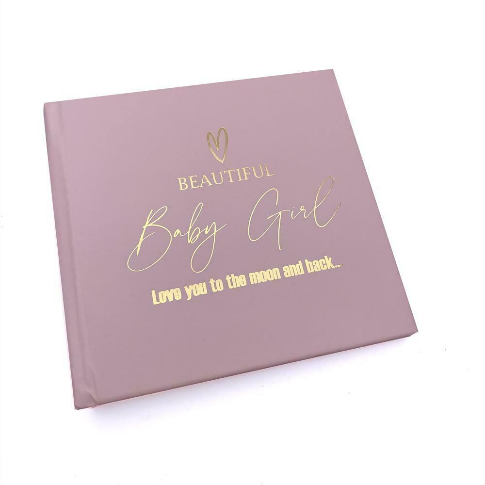 Beautiful Baby Girl Pink Photo Album With Gold Script