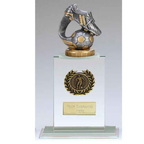 G002A GLASS FOOTBALL TROPHY SIZE 21 CM  FREE ENGRAVING