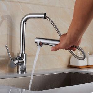 Spueltisch-Wasserhahn-Armatur-Kuechenarmatur-mit-ausziehbar-Brause-Einhandmischer