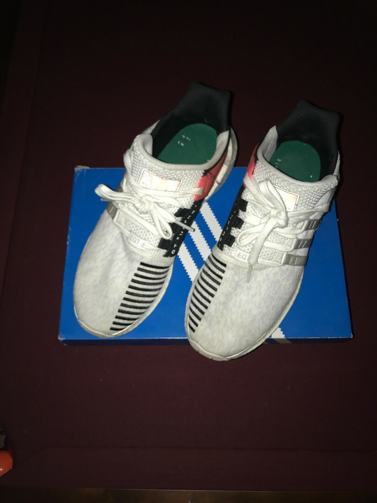 Mens Adidas white/turbo EQT Support 93/17 size 12 Preowned