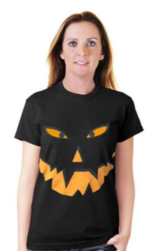 Ladies Womens Halloween Pumpkin Black T-Shirt Orange Gothic Top Plus Sizes 8-26