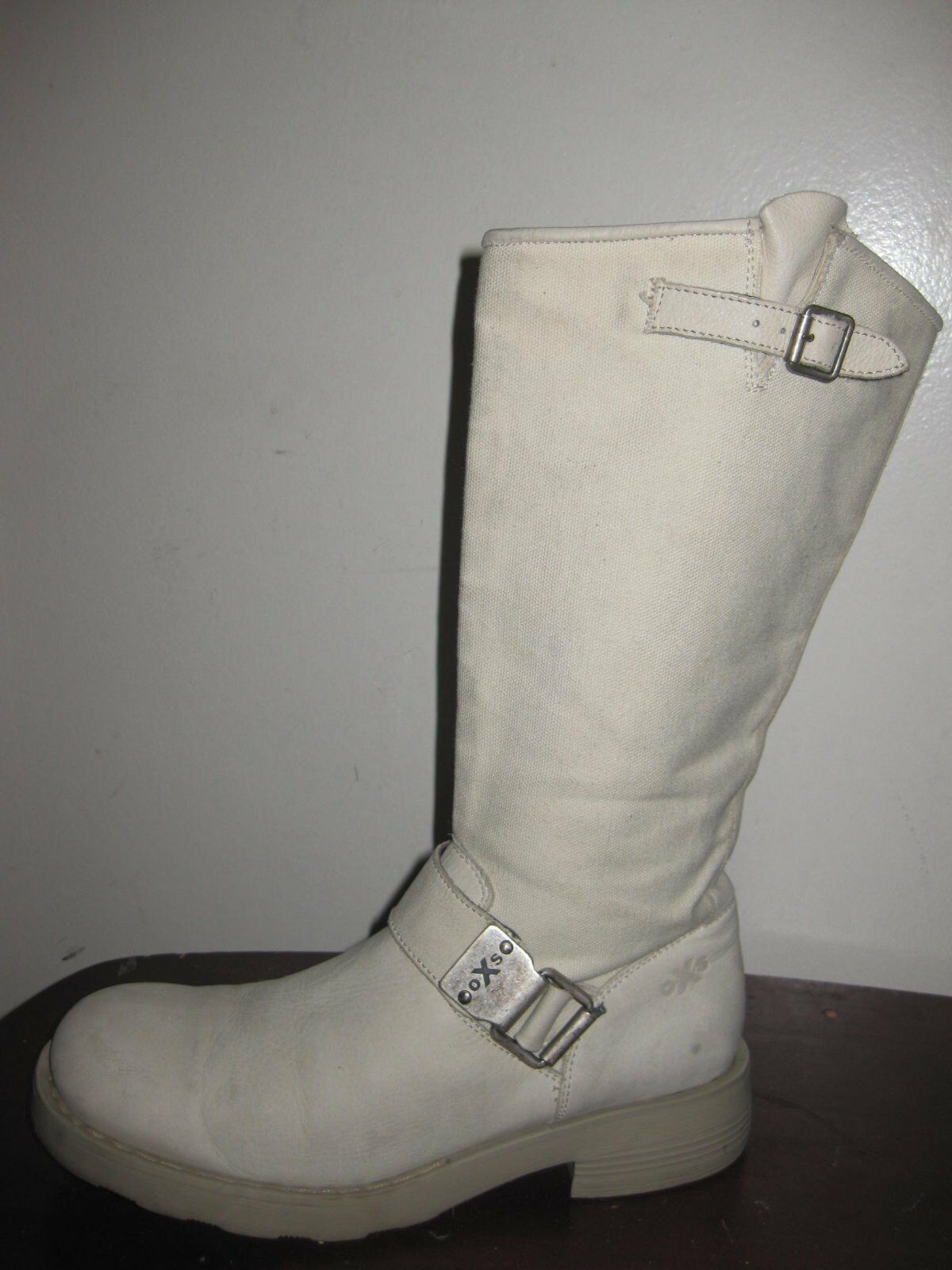 OXS The Original  Beige Mid- Calf Boots Sz 38   7.5, Made In ITALY