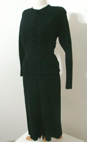 Vintage 1940's Dress Black Wool Bias Cut PARAMOUNT