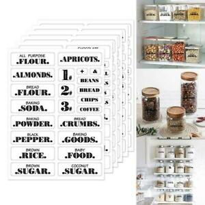 132x Kitchen Storgae Stickers Jars Bottle Food Container Clear Waterproof S9Q0