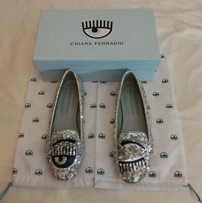 CHIARA FERRAGNI Leather Oxford Shoes Size 37 UK 4 Metallic