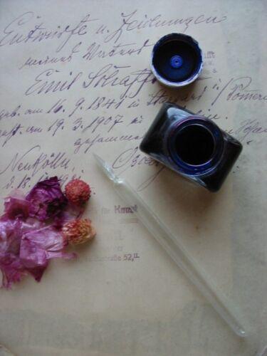 ANTIQUE Vintage 1920/'s HAND BLOWN TWISTED Full GLASS INK DIP PEN rose color