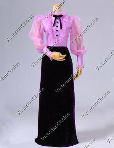 Victorian Costumes: Dresses, Saloon Girls, Southern Belle, Witch    Edwardian Titanic Downton Abbey Vintage Velvet Dress Gown Theater Clothing 311 $135.00 AT vintagedancer.com