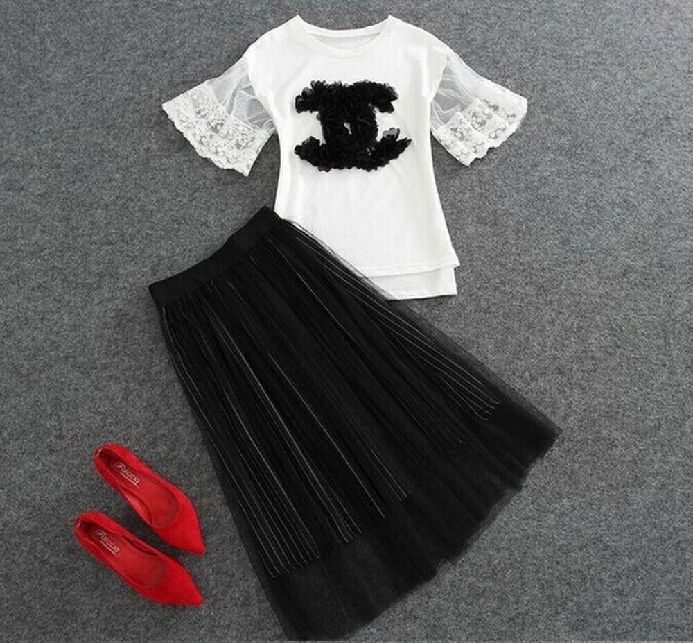 2pc sets A LINE tutu skirt + party jersey lace blouse plus 1x-10x (SZ16-52)G83