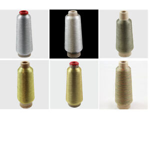 METALLIC-THREAD-EMBROIDERY-CONES-4000-METRES-6-COLOURS-SEWING-MACHINE-DRESSMAKIN