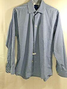 756c899be739d Egara Mens Flip Cuff Long Sleeve Dress Shirt Blue size L 16 16 1/2 ...