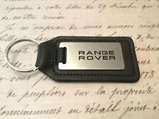RANGE ROVER OBLONG BLACK LEATHER KEY RING FOB ETCHED AND INFILLED