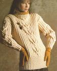 Ladies Aran Sweater Knitting Pattern Interlace Cables Jumper 30-44