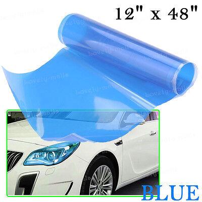 "12/"" x 24/"" Gloss Blue Tint Headlights Tail Lights Fog Lights Vinyl Wrap Film W"