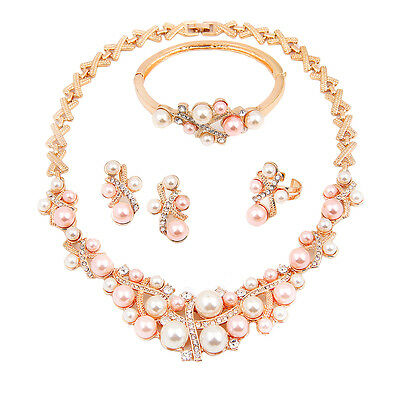 Fashion Pearl Necklace Set Gold Plated Bridal African Wedding Alloy Jewelry Sets