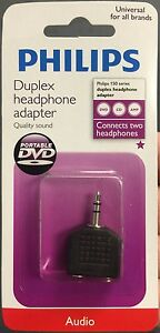 2-Philips-3-5mm-Stereo-Y-Adaptor-Splitter-Connects-2-headphones-to-one-device