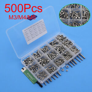 500pcs M3 M4 M5 Hex Socket Screws Set Stainless Steel Hex Socket Cap Head Nuts
