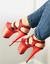 NEW 8 Inch Red Glitter Jumbo Stacked Platform Stripper Dancer Heels Pleaser Shoe