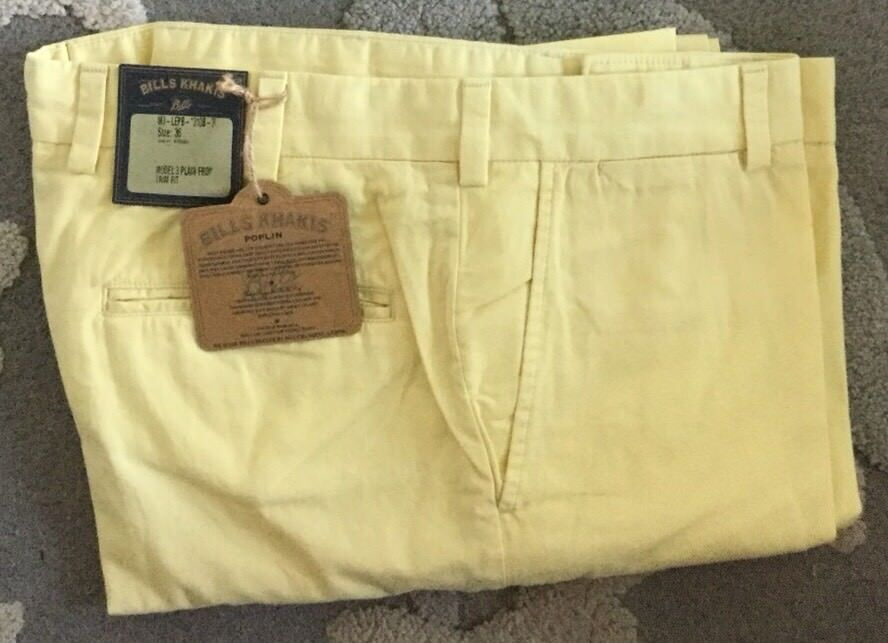 NWT-Bills khakis M3-LEPB Size 36X31 PLAIN FRONT Lemon TRIM FIT POPLIN