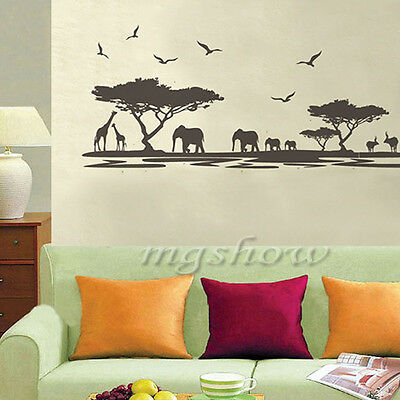 African Elephants Animal Tree Wall Sticker Art Decal Mural Removable Home Decor
