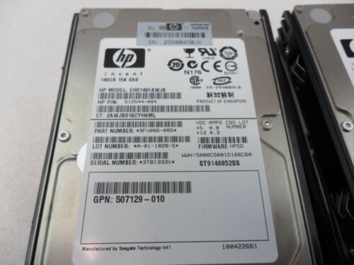 Lot of 10 HP 146GB 15K SAS 2.5 DP Hard Drive 504334-001