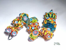 BOHO GARDEN Lampwork Beads Handmade Colorful Big BRight Red Blue Green Yellow ++