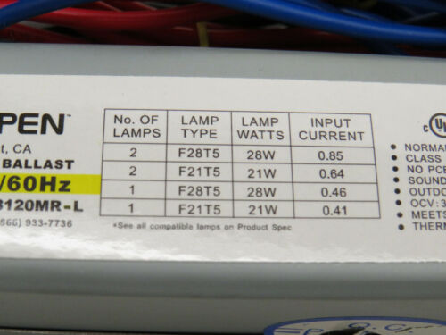 F28T5 or F21T5 Lamps 2 Espen VE228120MR-L Electronic Fluorescent Ballast for