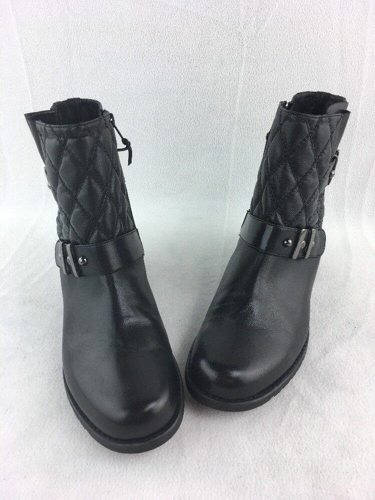 Stuart Weitzman Download Black Nappa Ankle Boots Size 8.5M  D27