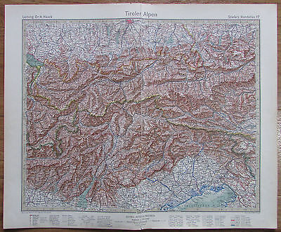 TIROLER ALPEN - TYROLESE ALPS 1926 Kupferstich alte Landkarte old map