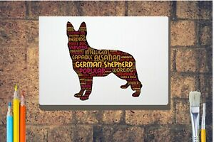 German-Shepherd-Word-Art-Canvas-A4-A3-A2A1-Mothers-Day-Gift-Personalised-Option