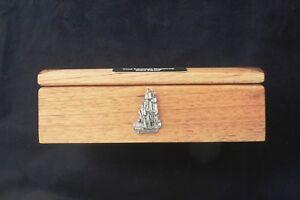 Galleon Ship Oak Jewellery Box 6x4 Photo Insert FREE Engraving Gift