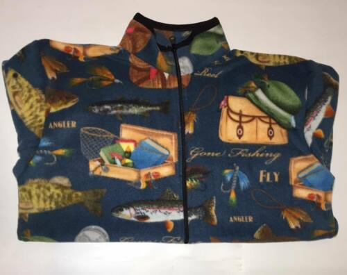 ZooFleece Blue Fish Bait Tackle Fishing Sweater Fly Fish Lover Jacket Gift S-3X