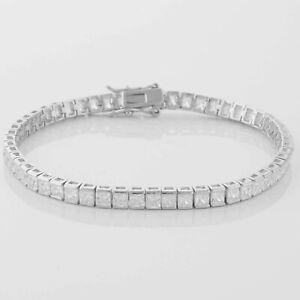 Silber-Armband-Eckig-4mm-mit-Zirkonia-Stein-Weiss-Rhodiniert-925-Silber-Damen