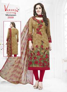 Unstitched Salwar Kameez Punjabi Suit Indian Synthethic Pakistani Ethnic Leon
