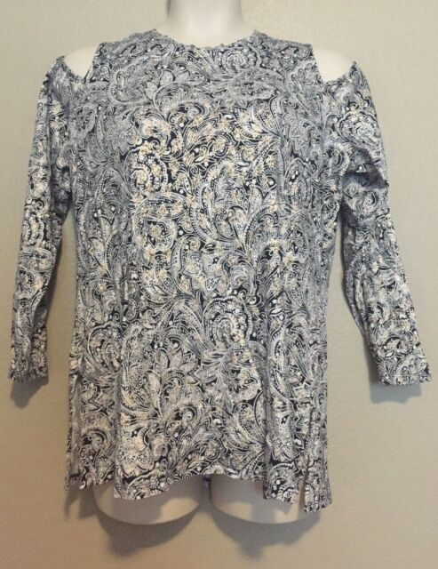 11d096ff9abad1 Michael Kors Women's Navy Metallic Paisley Print Cold Shoulder Top Plus  Size 1X