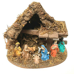Vintage Italian Nativity Scene Creche 8 Figures Italy